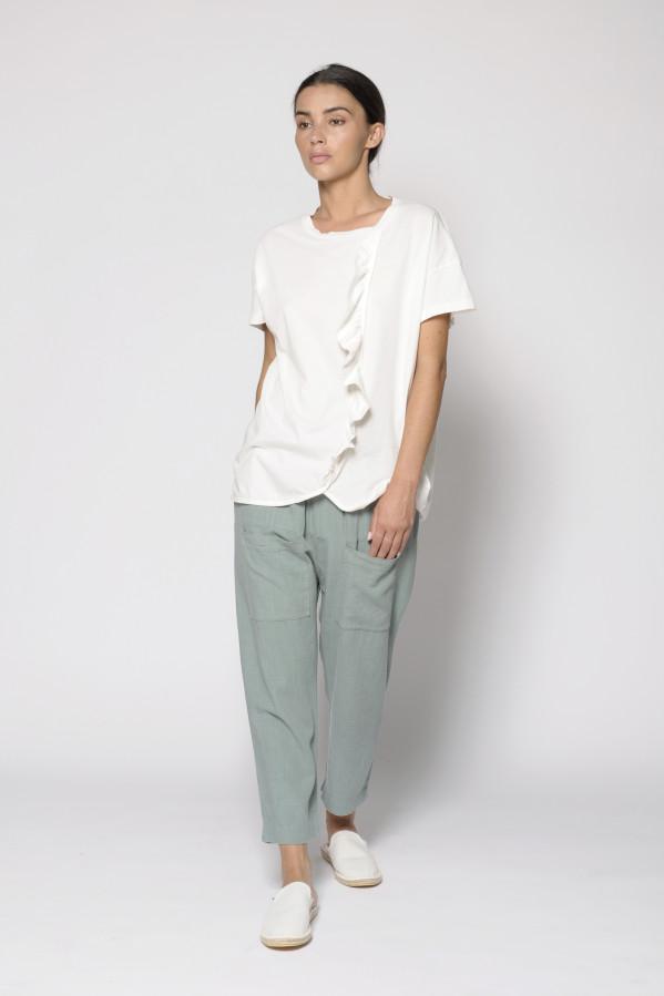 Pantalón baggie verde, 14% lino, 86% viscosa Pan Producto Básico
