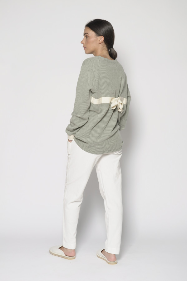 Jersey-Sudadera, cuello redondo, manga larga, color verde, 100% algodón, PanPorducto