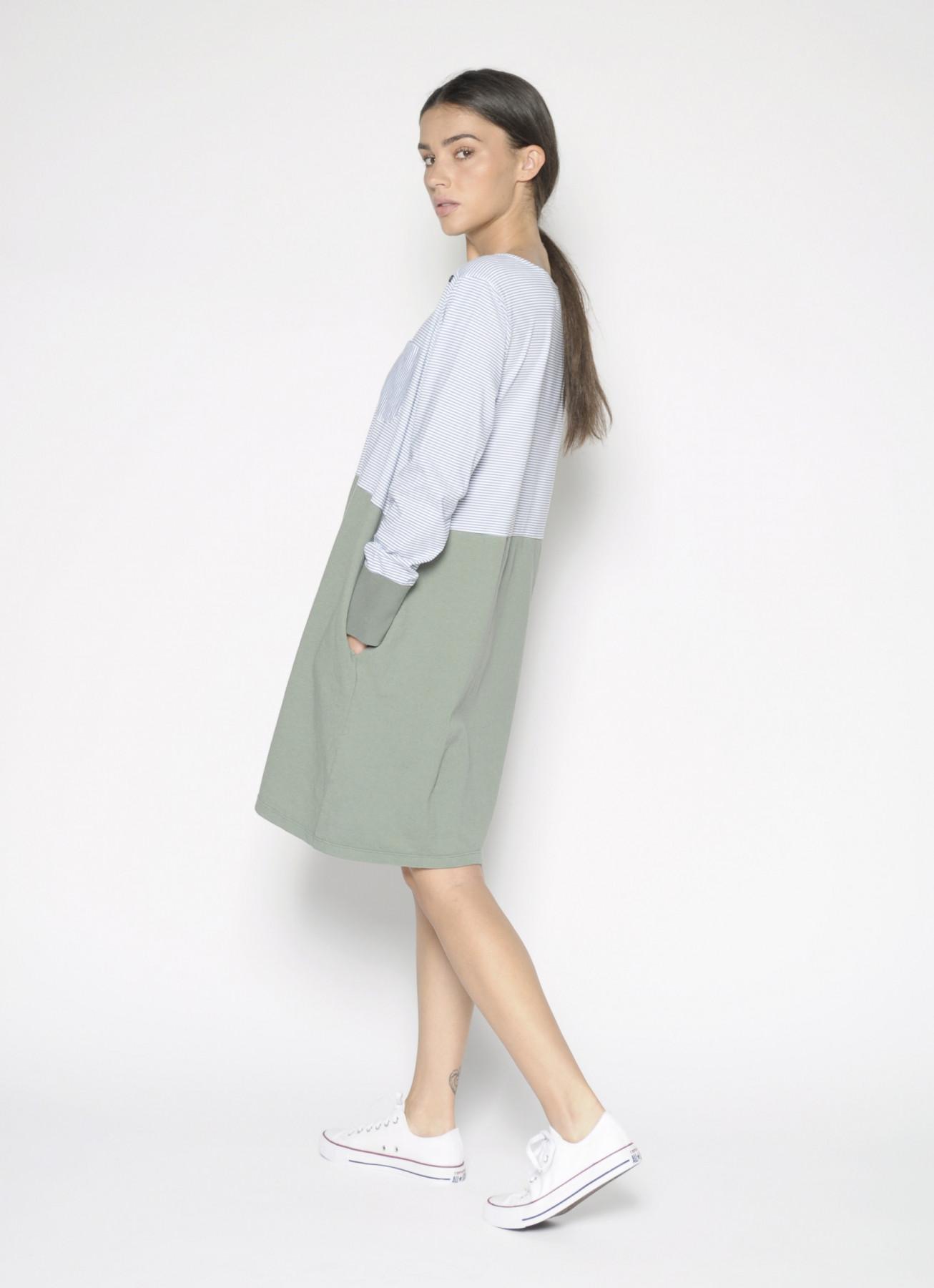 Vestido-Camiseta, con estampado liso y de rayas, algodón, corto, PanProducto