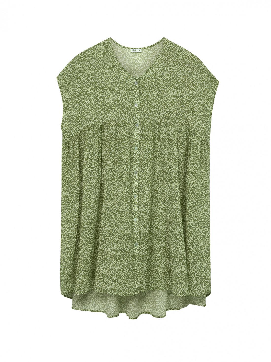 Vestido corto estampado verde, fluido, de pico, manga corta.55% algodón 45% viscosa