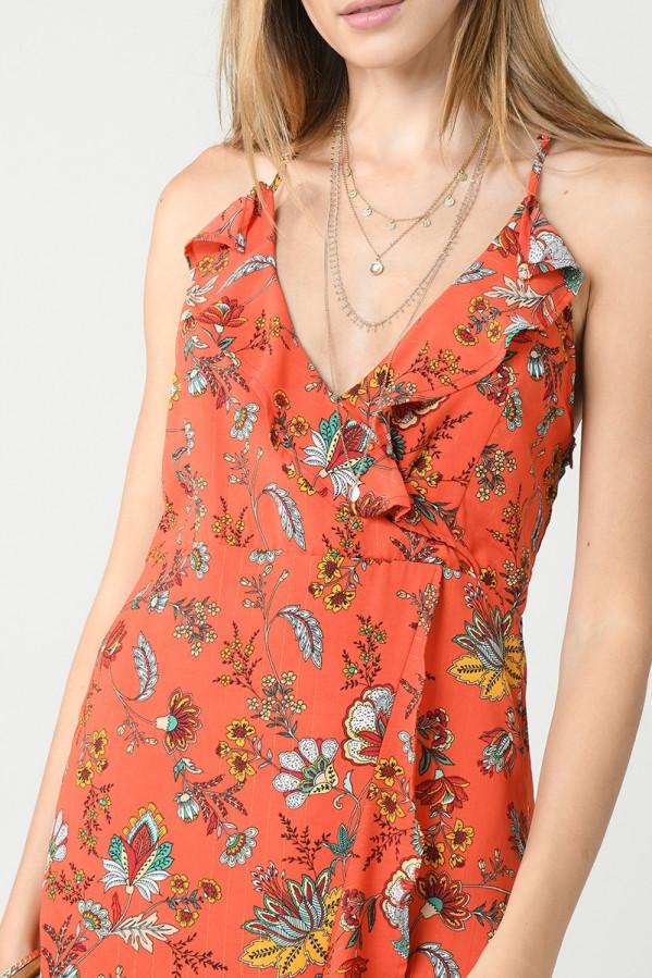 Vestido Molly Bracken de flores con escote pico
