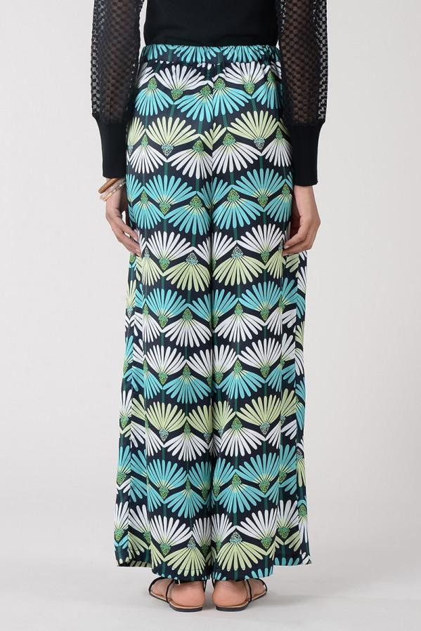 Pantalón ancho fluido con estampado print floral, cinturilla elástica Molly Bracken