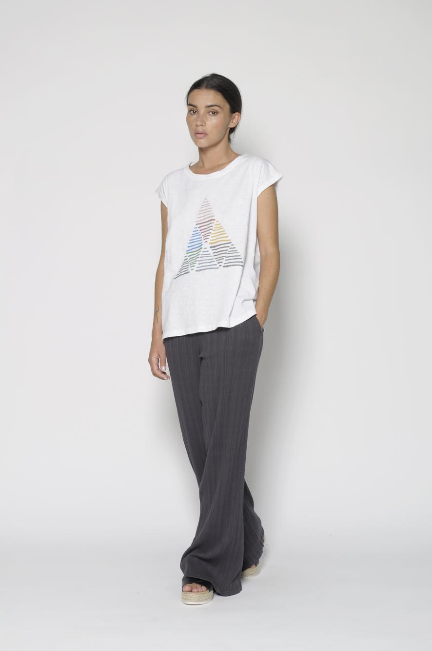 Camiseta blanca, manga corta, cuello redondo, 100% algodón
