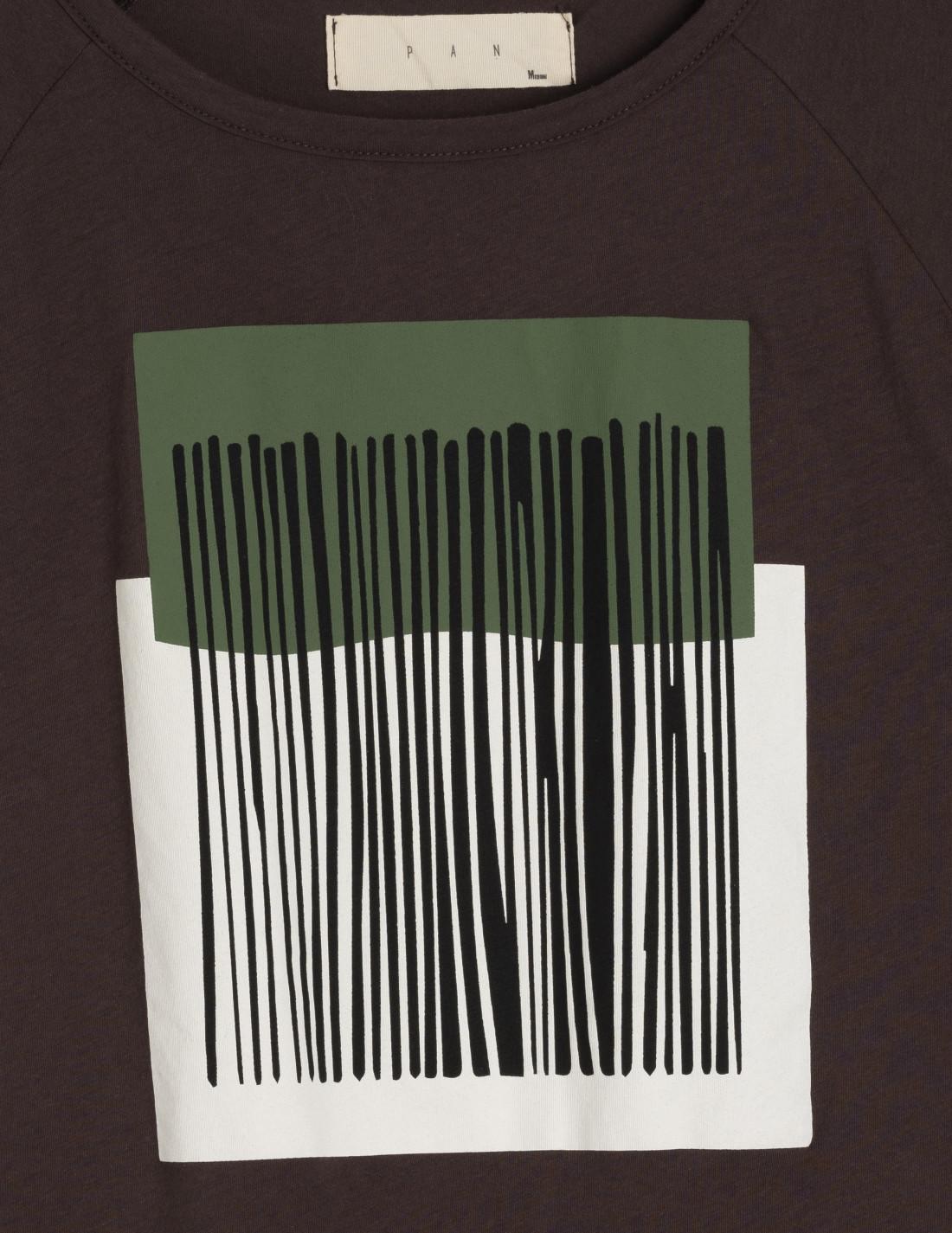 Camiseta de cuello redondo, manga corta y estampado bicolor, 100%algodón, PanPorducto