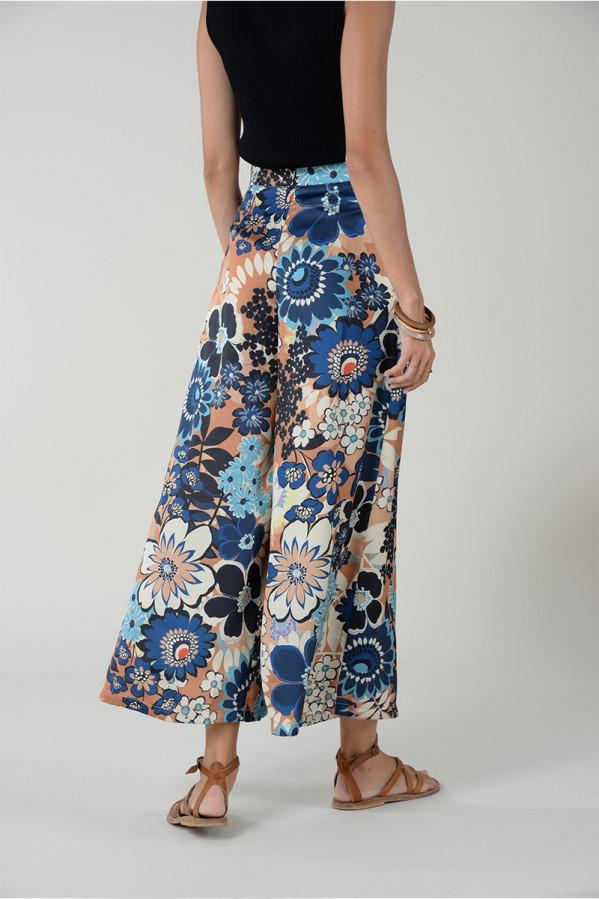 Pantalón ancho de flores con cremallera invisible