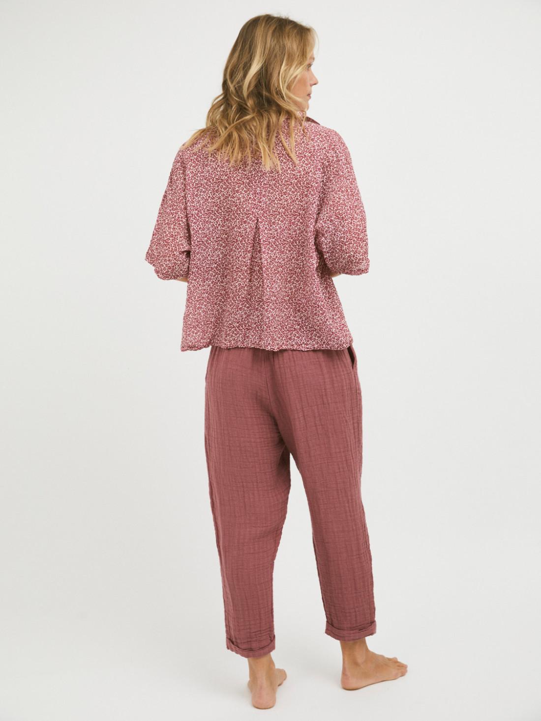 Pantalón algodón - lino casis, amplio y tobillero 50% algodón, 50% lino