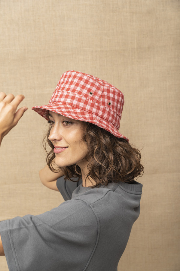 Bucket hat de cuadros vichy,40% lino 25% algodón, Graine Clothes
