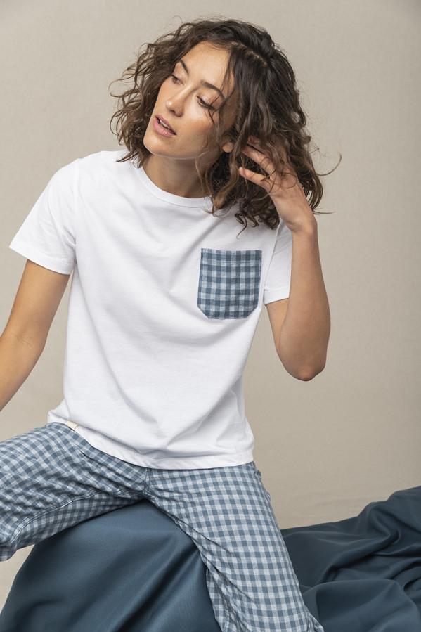 Camiseta de cuello redondo, manga corta y bolsillo, 100% Algodón orgánico