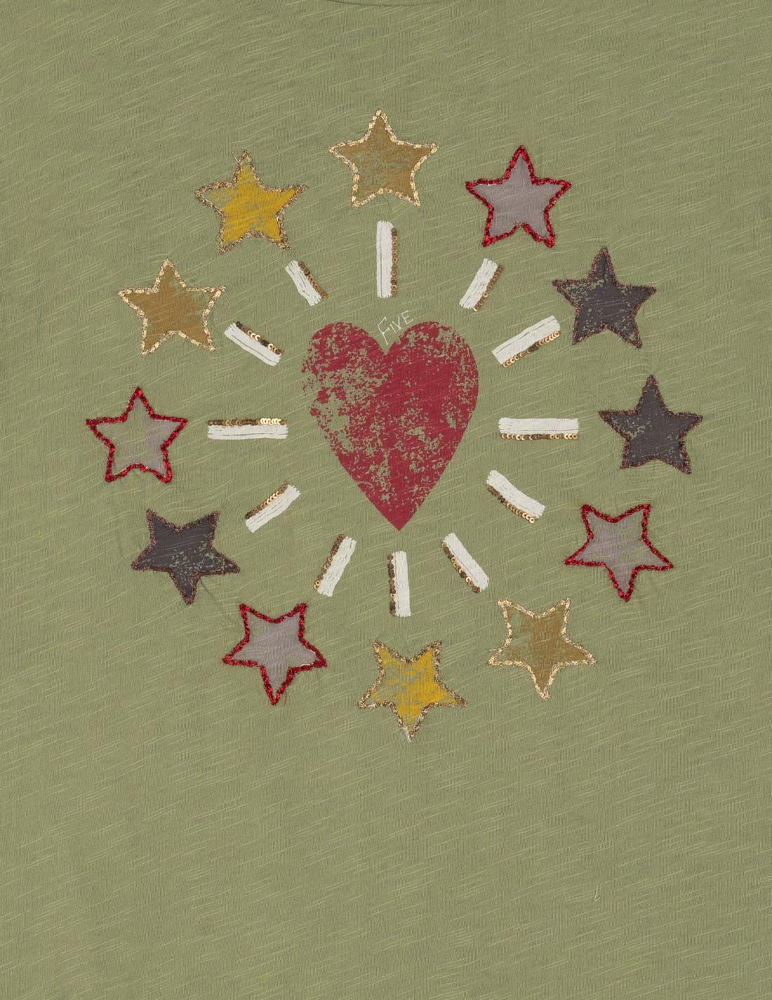 """Camiseta """"Coeur et Étoiles"""" corte recto, cuello redondo, sin mangas y con motivos ribeteados"""